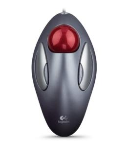 Logitech Marble Trackball Maus schnurgebunden silber-rot, USB-Anschluss - 1